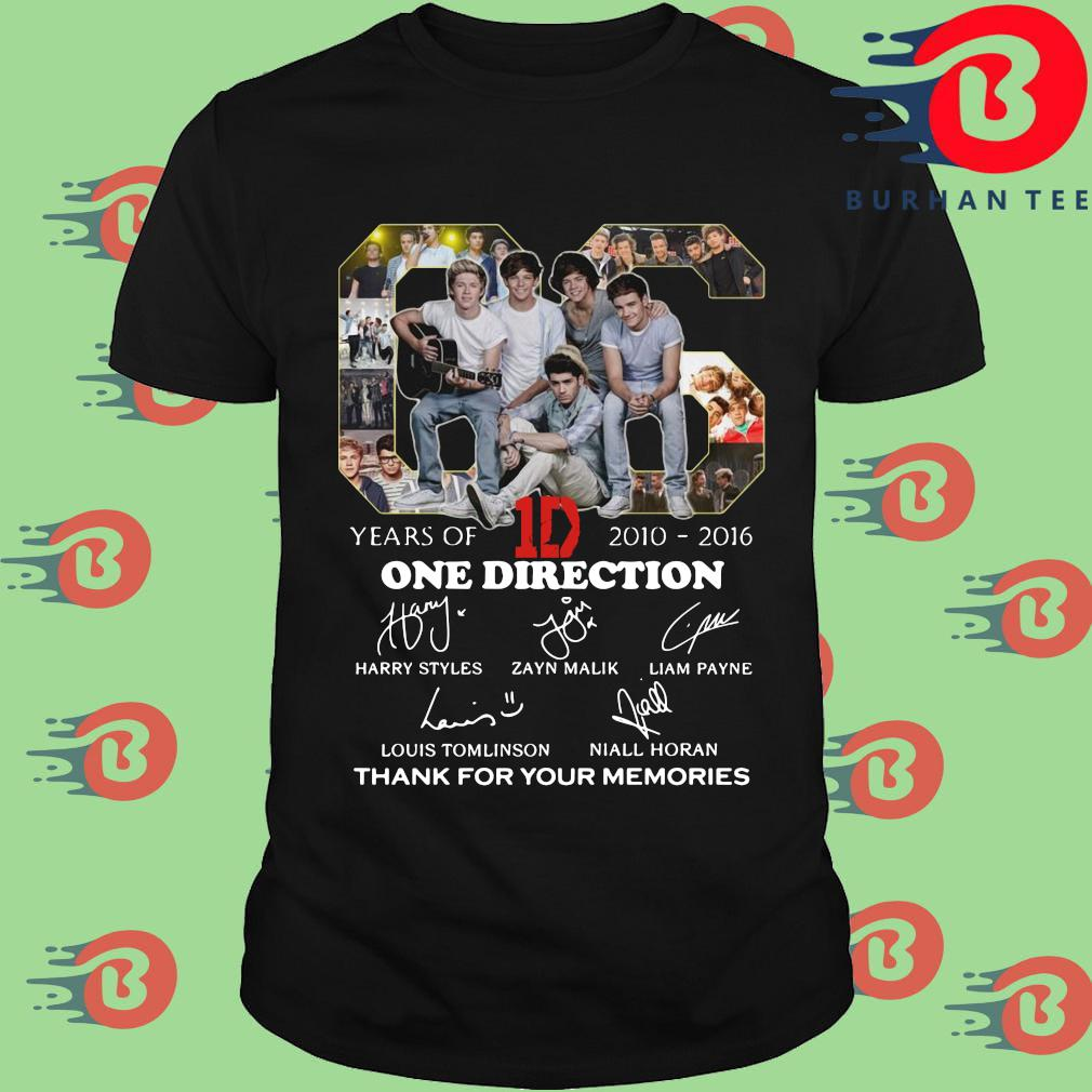 66 years of 2010-2016 One Direction thank for your memories signatures shirt