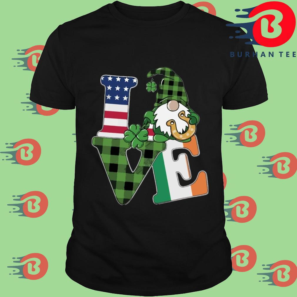 American flag Gnome Love St Patrick's Day Shirt