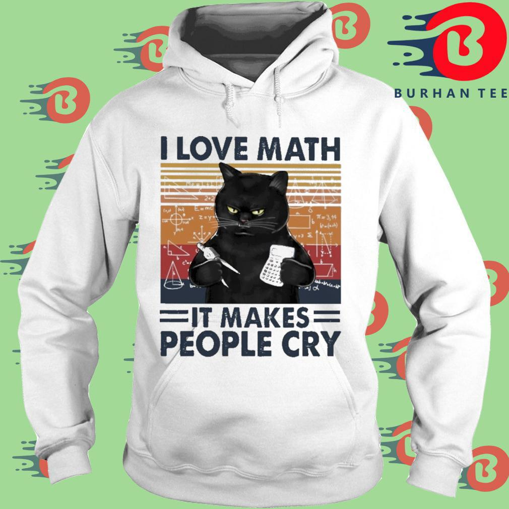 Black cat I love math it makes people cry vintage trang Hoodie