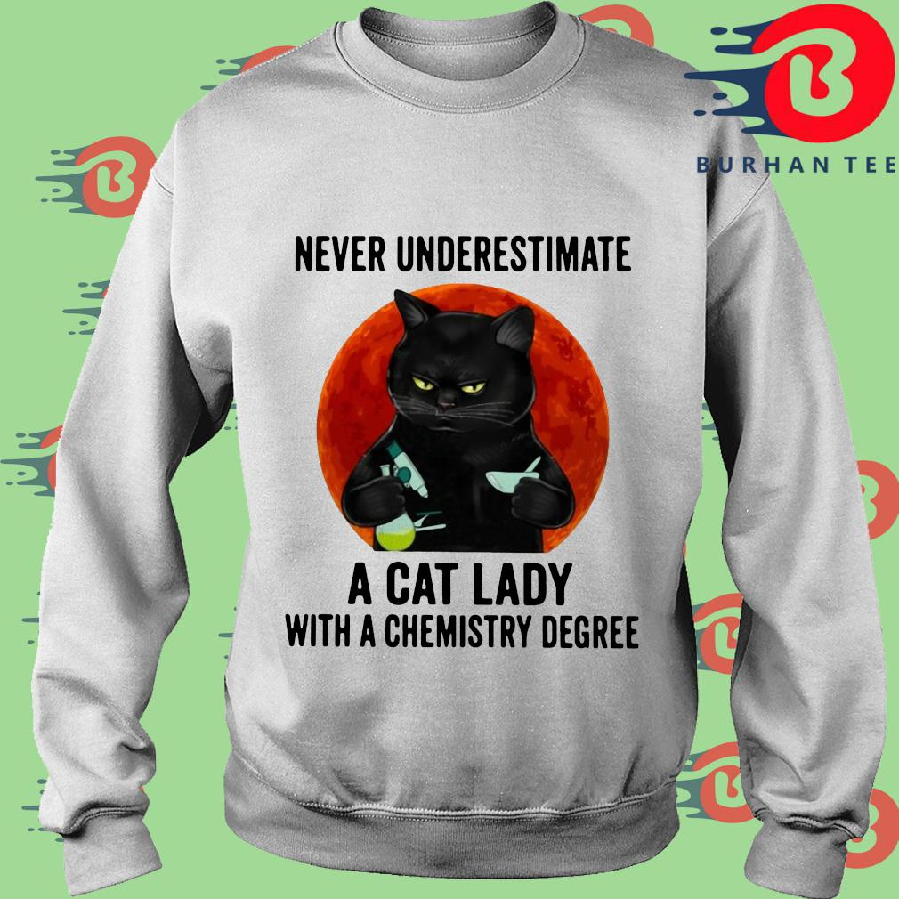 Black cat underestimate a cat lady with a chemistry degree trang Sweater