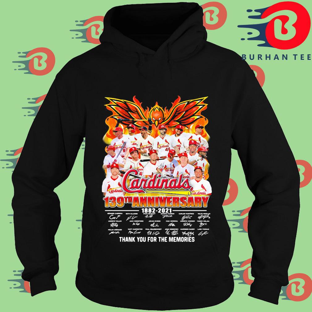 Cardinals 139th anniversary 1882-2021 thank you for the memories signatures Hoodie
