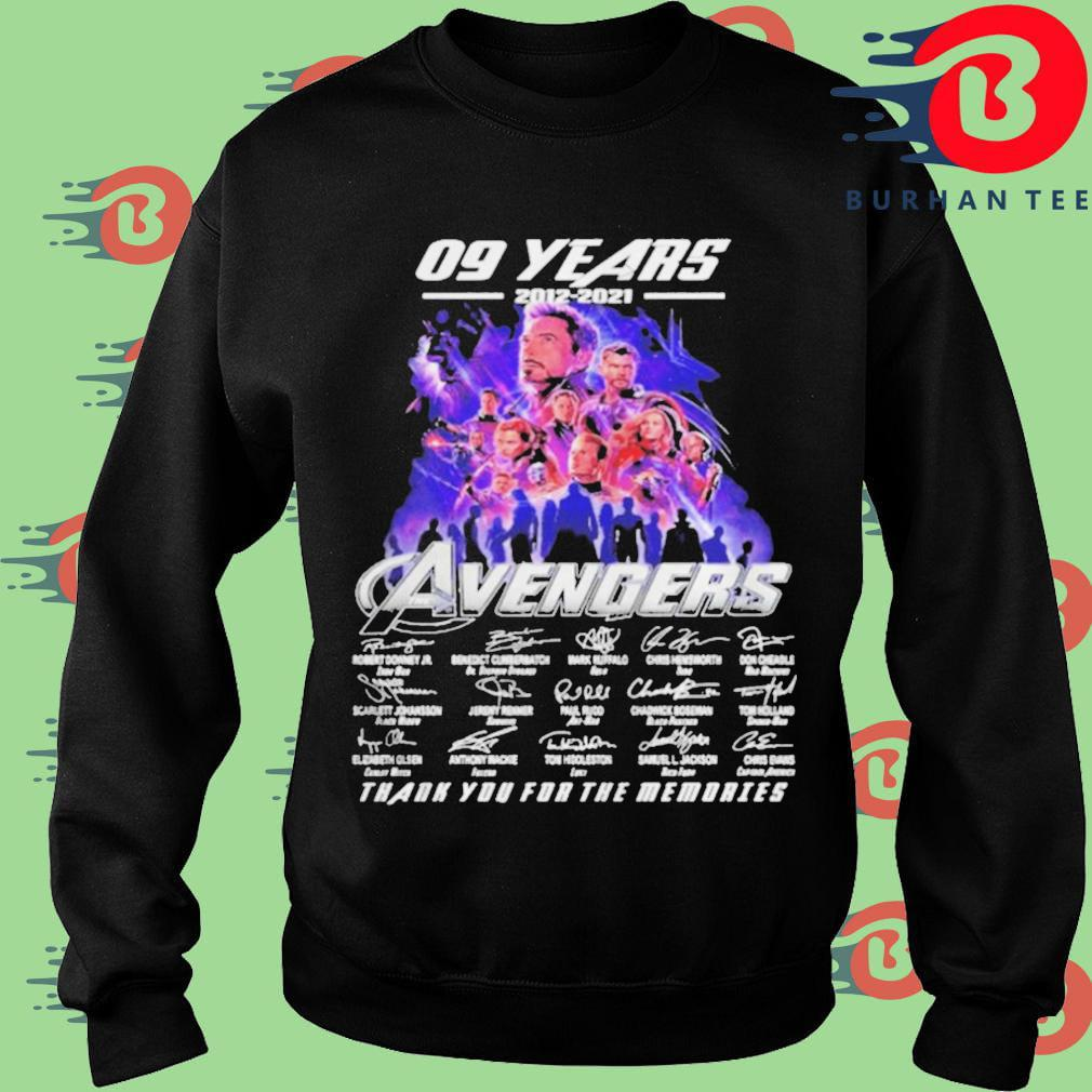 09 years 2012 2021 Avengers thank you for memories signatures Sweater