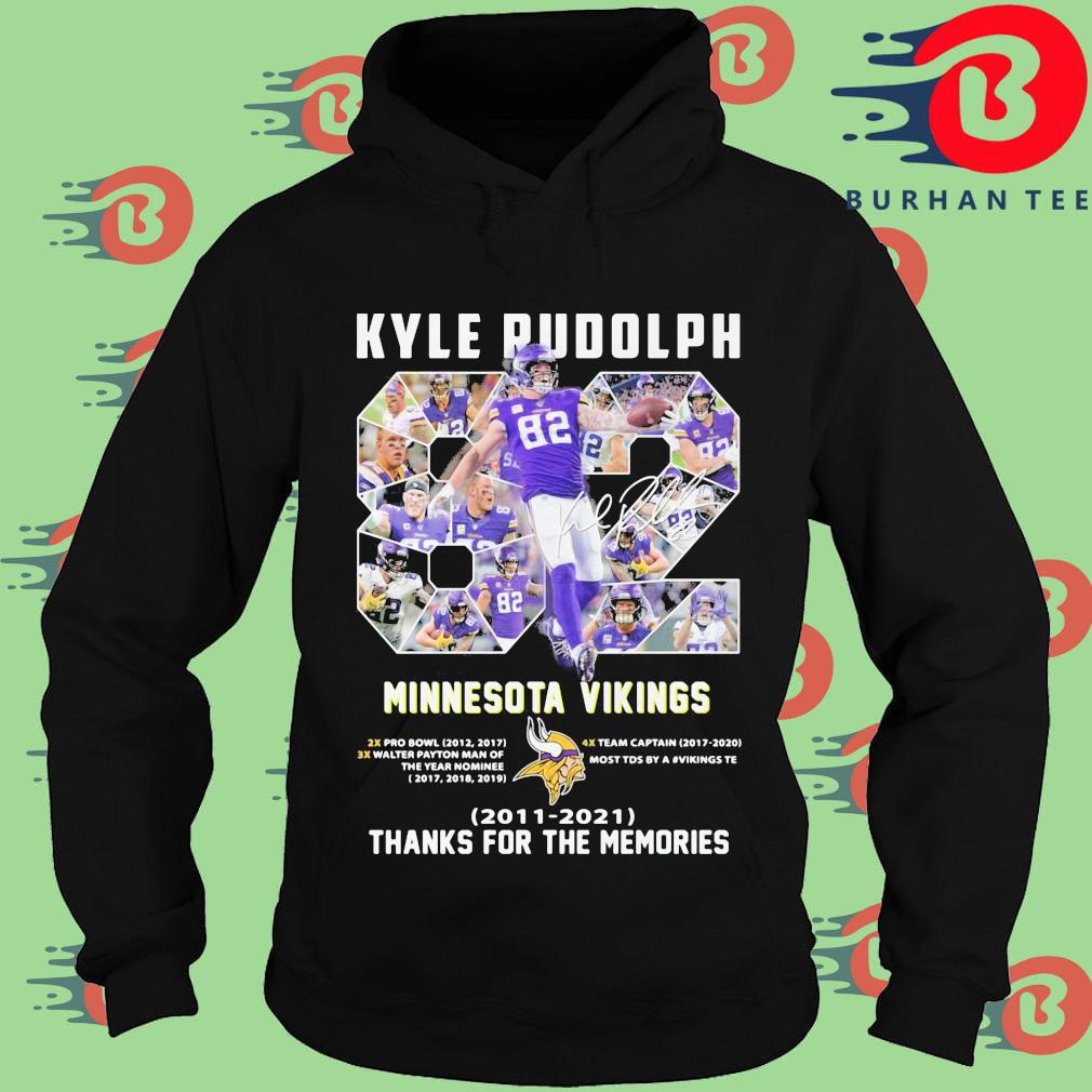 Kyle Rudolph 82 Minnesota Vikings signature 2011 2021 thanks for the memories Hoodie