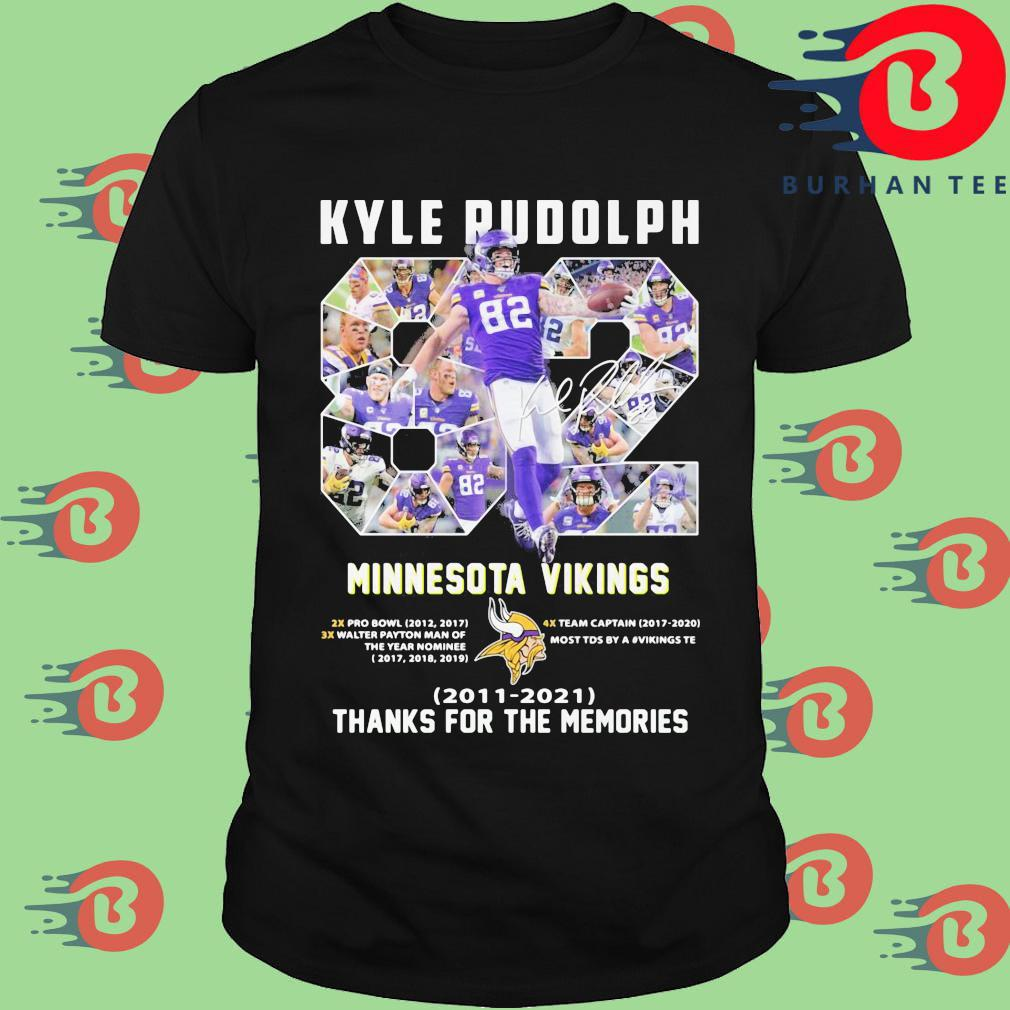 Kyle Rudolph 82 Minnesota Vikings signature 2011 2021 thanks for the memories shirt
