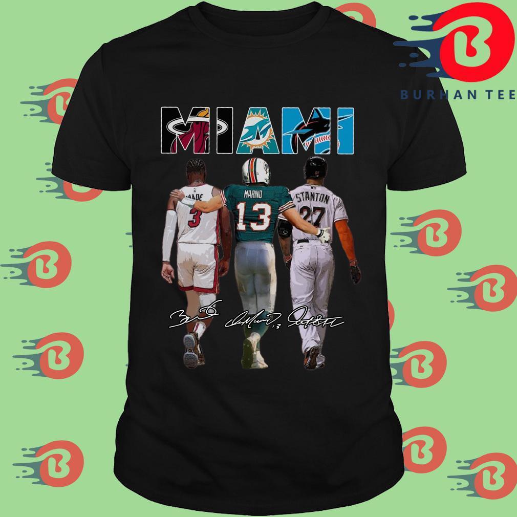 Miami Sports Miami Dolphins Miami Heat Miami Marlins Dwyane Wade Dan Marino and Giancarlo Stanton signatures shirt
