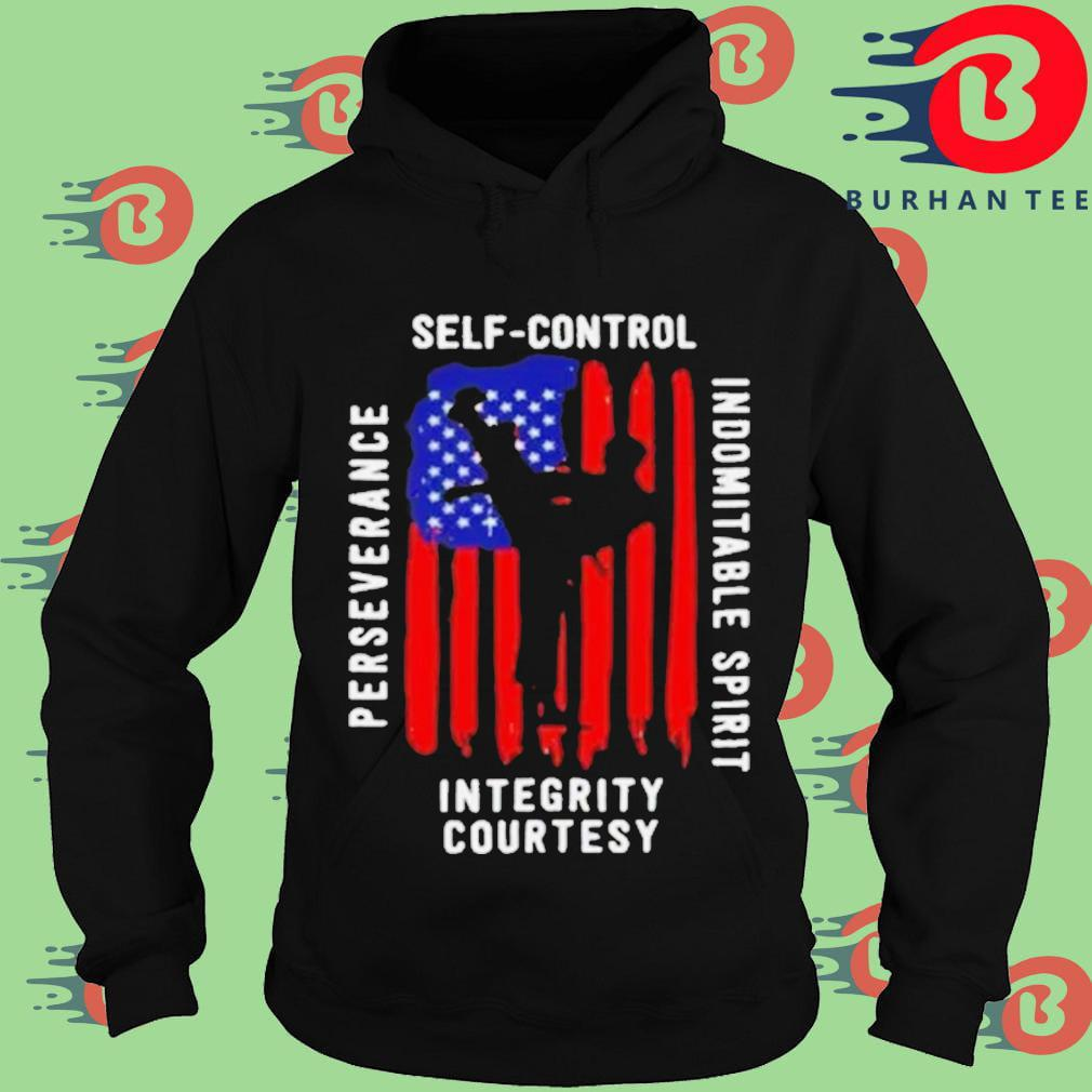 Taekwondo self control perseverance indomitable spirit integrity courtesyAmerican flag Hoodie