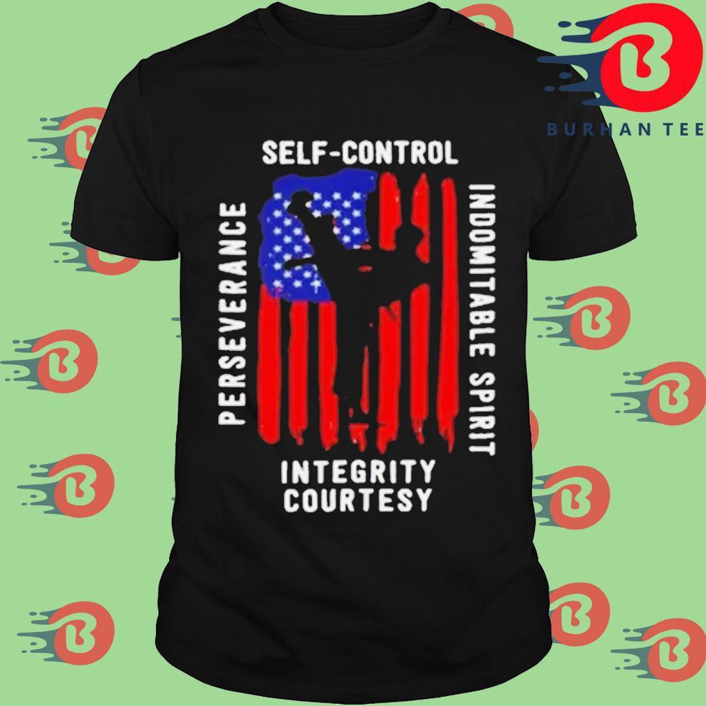 Taekwondo self control perseverance indomitable spirit integrity courtesyAmerican flag shirt