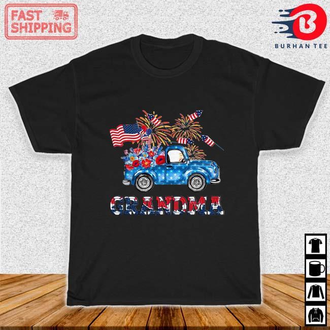Trucker flower grandma 4th Of July shirt