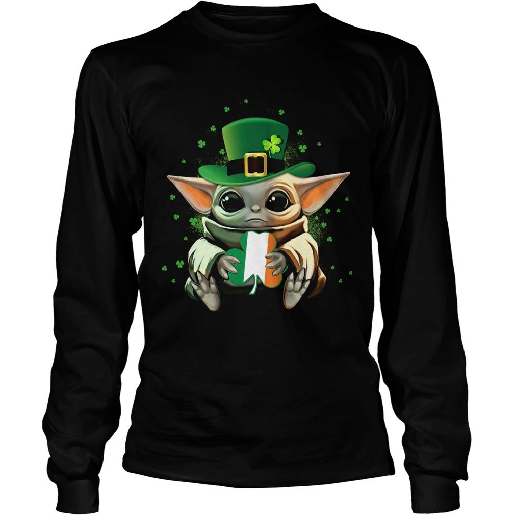 Baby Yoda Hug St Patricks Day  LongSleeve