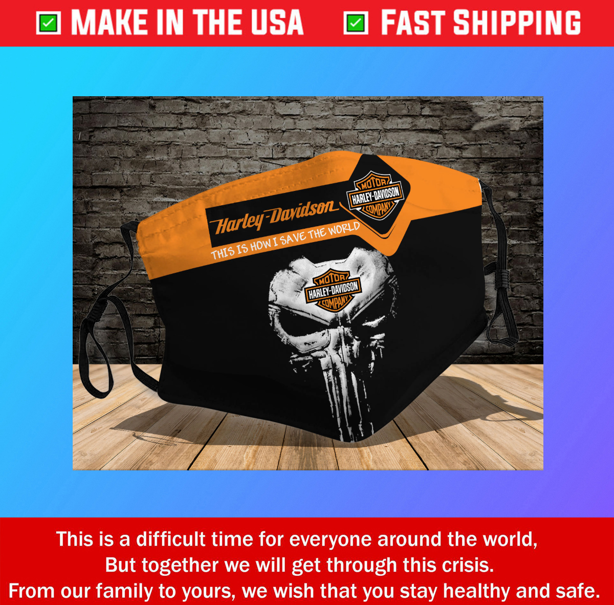 Harley Davidson Skull 3D Cotton Face Mask