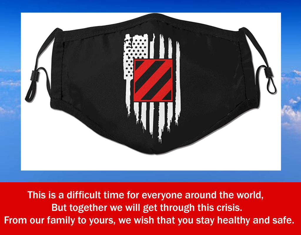 American Flag Us Army 3rd Infantry Division Filter Face Mask