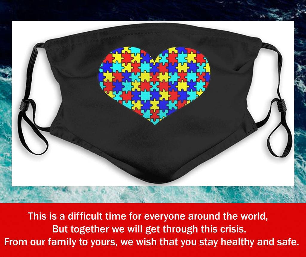 Autism Awareness Heart Puzzle Filter Face Mask