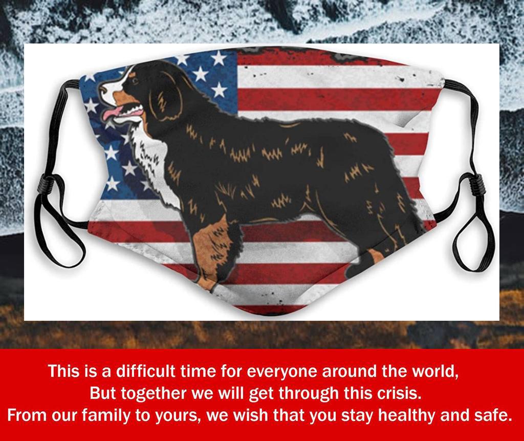 Bernese Mountain Dog American Flag Filter Face Mask