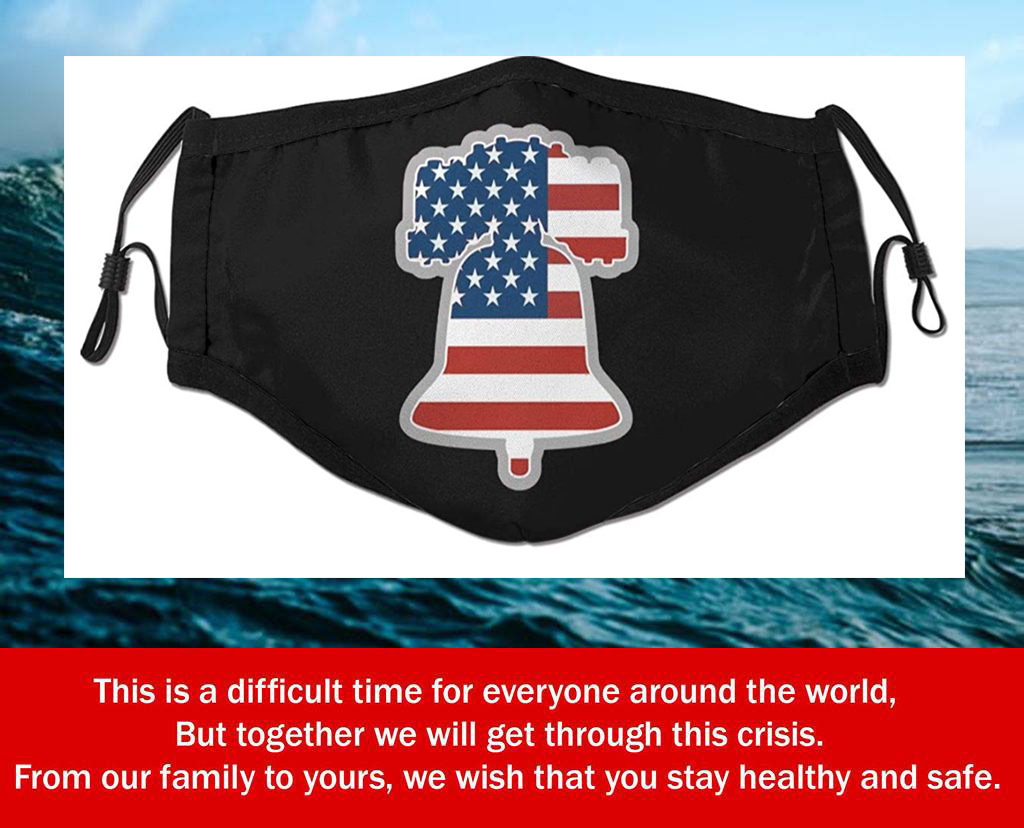 Liberty Bell American Flag Filter Face Mask