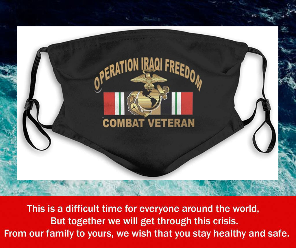 Operation Iraqi Freedom OIF Marine Corps EGA Veteran Filter Face Mask
