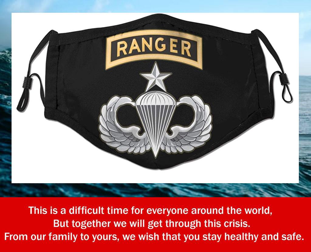 Senior Parachutist with Ranger Tab License Filter Face Mask