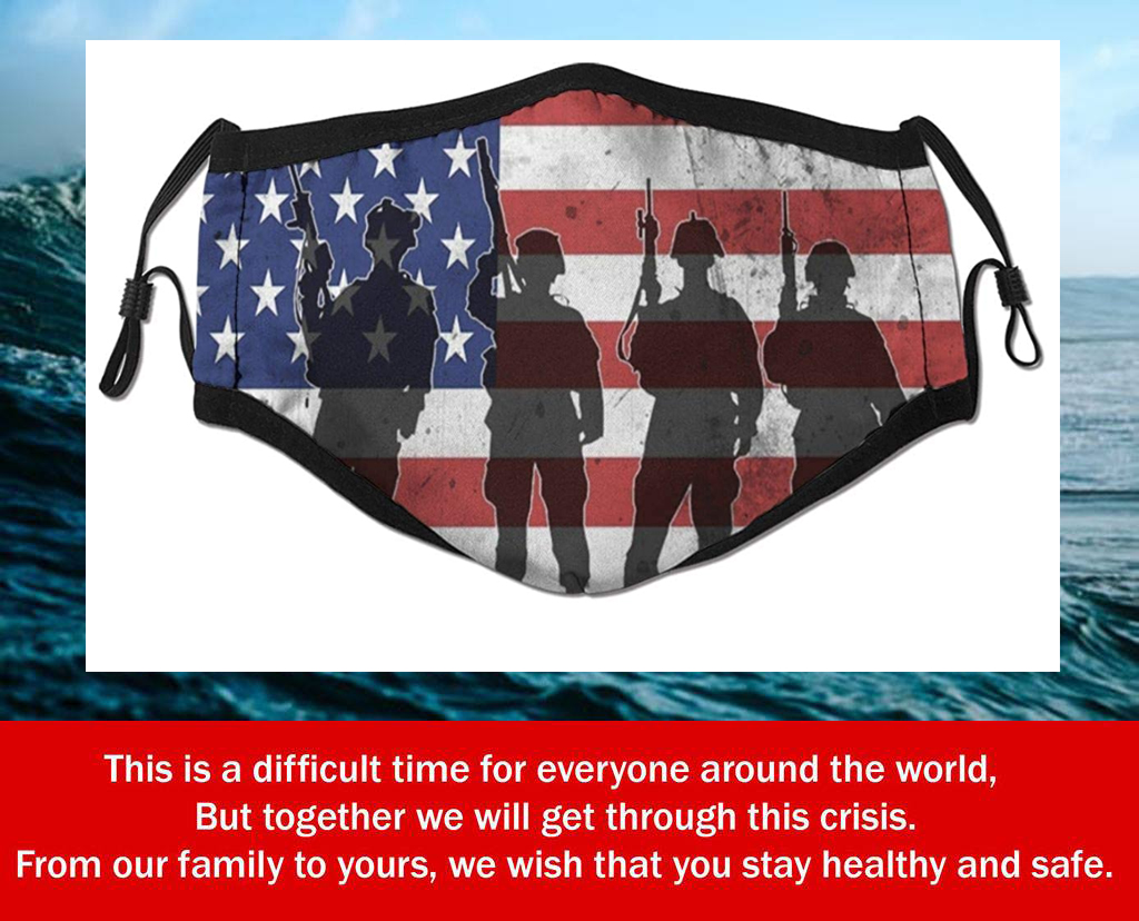 Support Our Troops American Flag Filter Face Mask