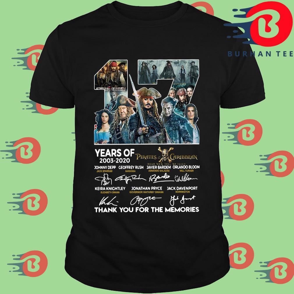 17 years of 2003 2020 Pirates of the Caribbean signatures thank you for the memories shirt