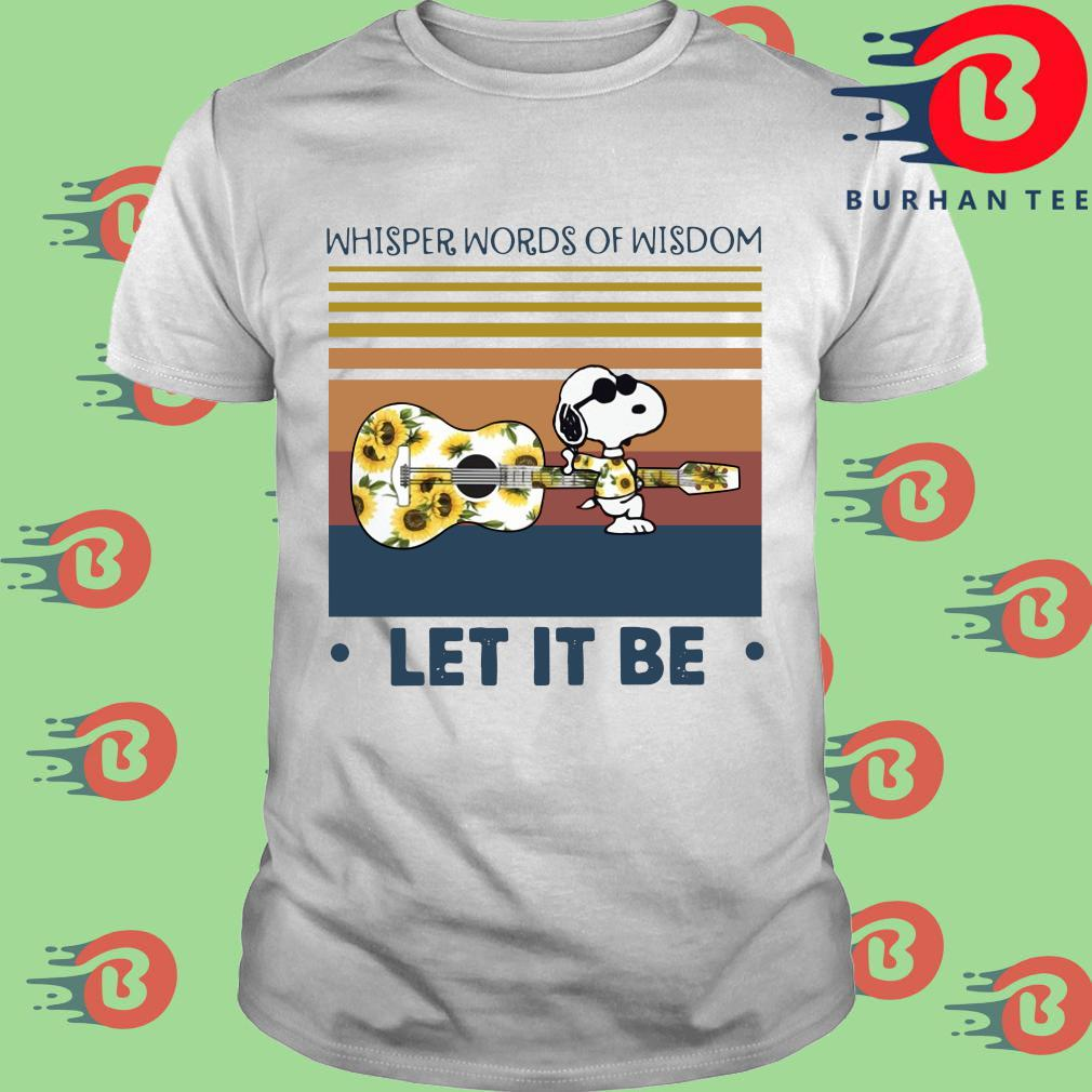 Snoopy guitar whisper words of wisdom let it be sunflower vintage shirt