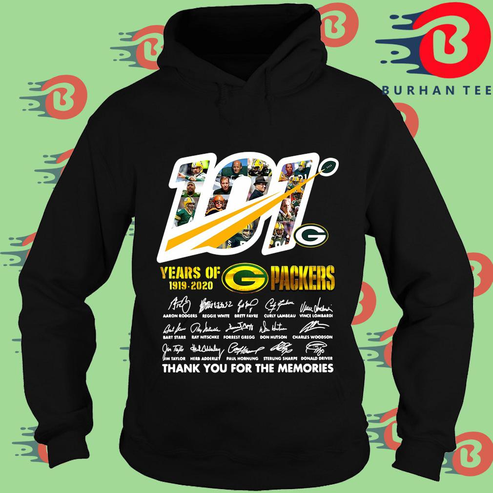 100 years of 1919-2020 Green Bay Packers thank you for the memories signatures s Hoodie