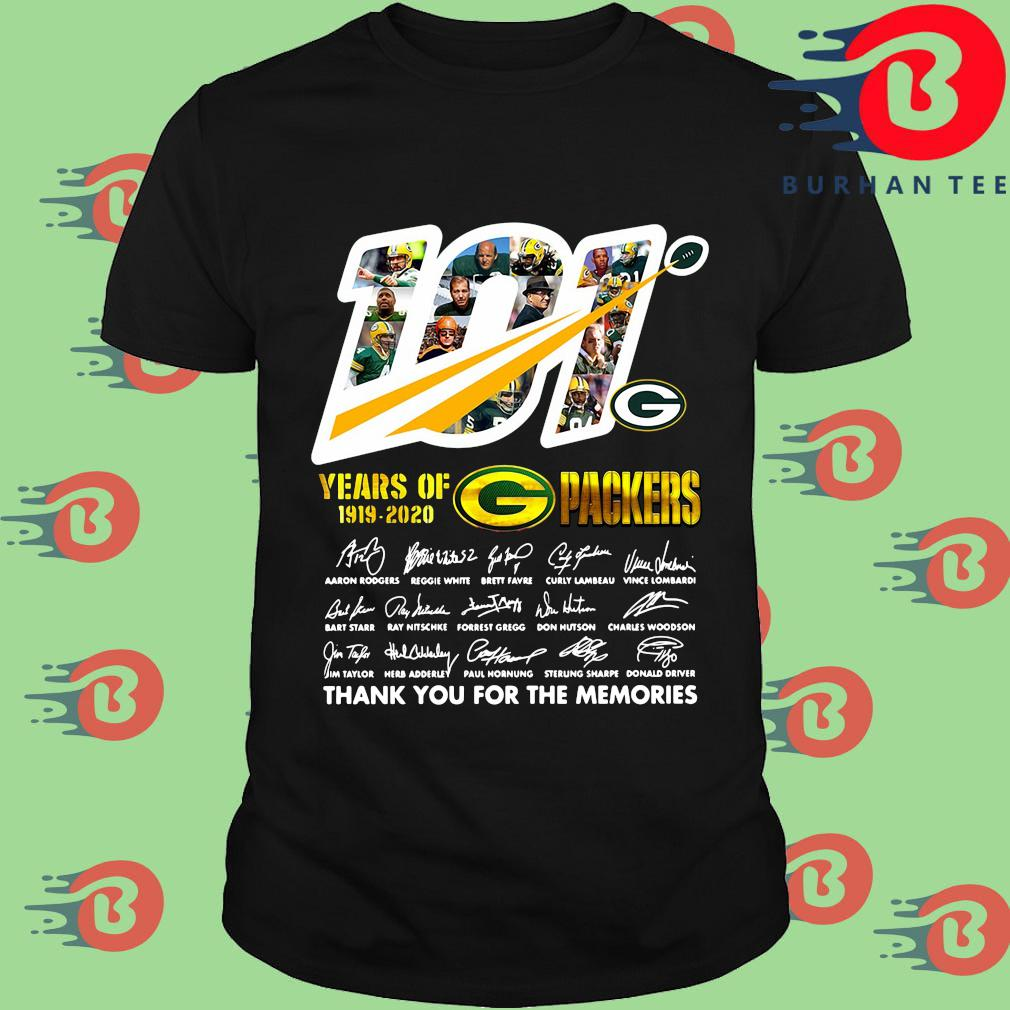100 years of 1919-2020 Green Bay Packers thank you for the memories signatures shirt
