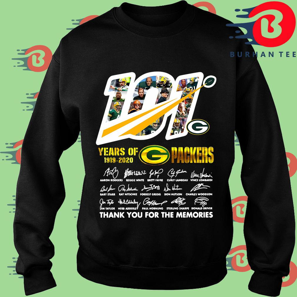 100 years of 1919-2020 Green Bay Packers thank you for the memories signatures s Sweater