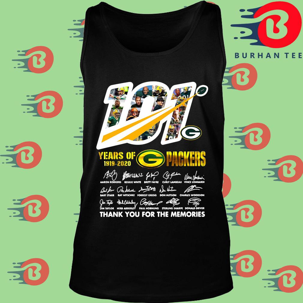 100 years of 1919-2020 Green Bay Packers thank you for the memories signatures s Tank top