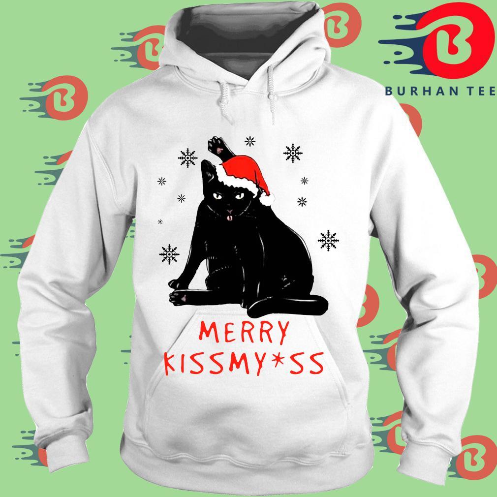 Black Cat Merry kissmyass Christmas sweater trang Hoodie