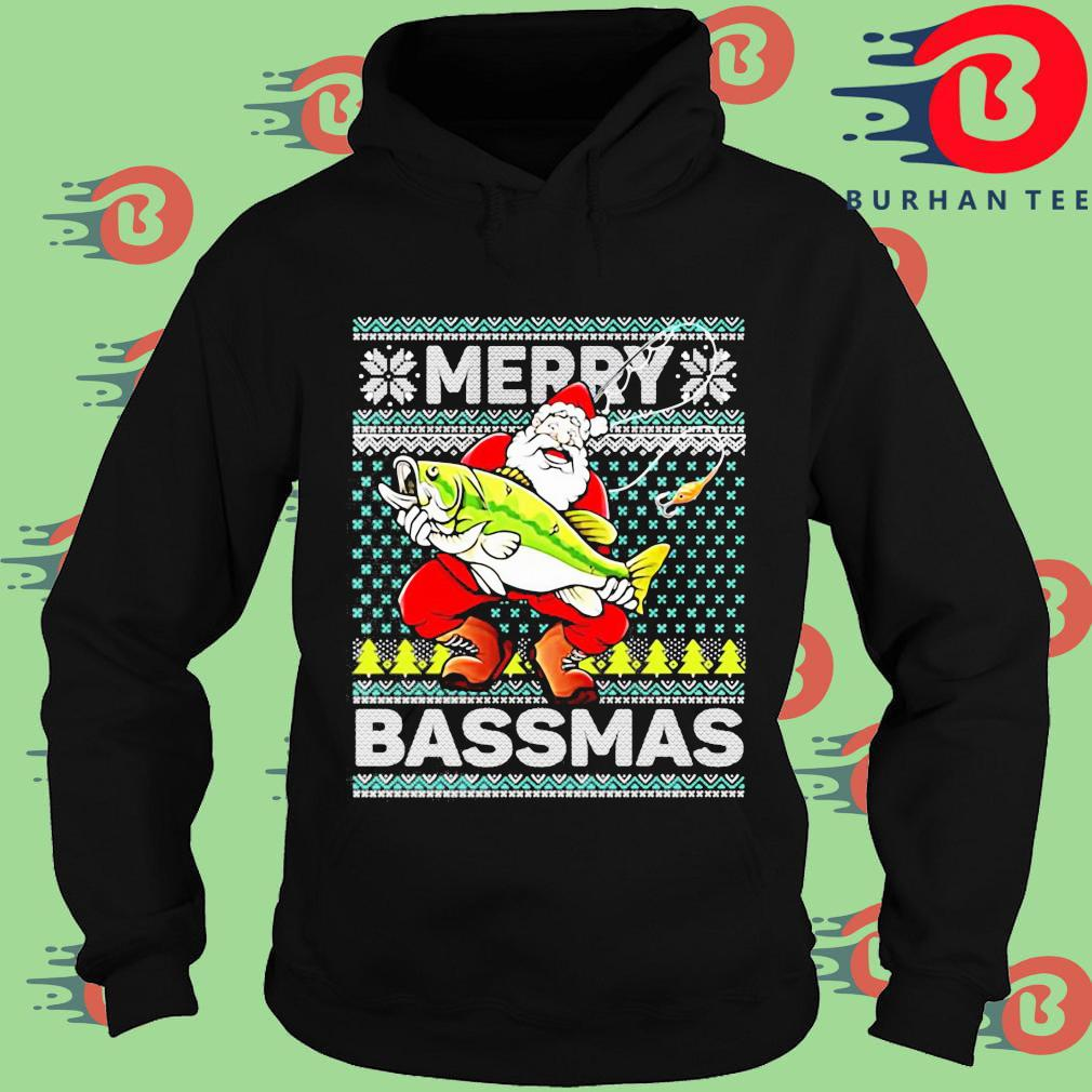 Merry Bassmas Fish Santa Christmas Sweats Hoodie