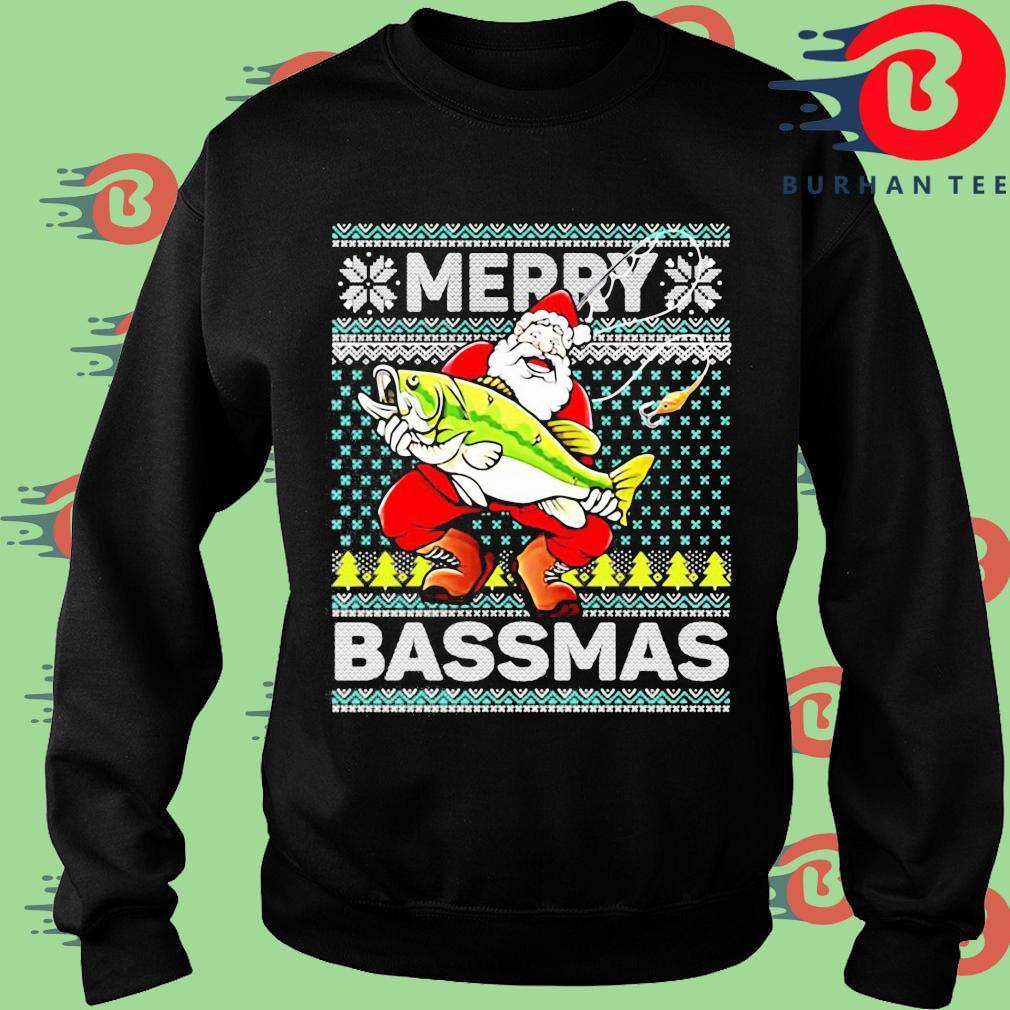 Merry Bassmas Fish Santa Christmas Sweats Sweater
