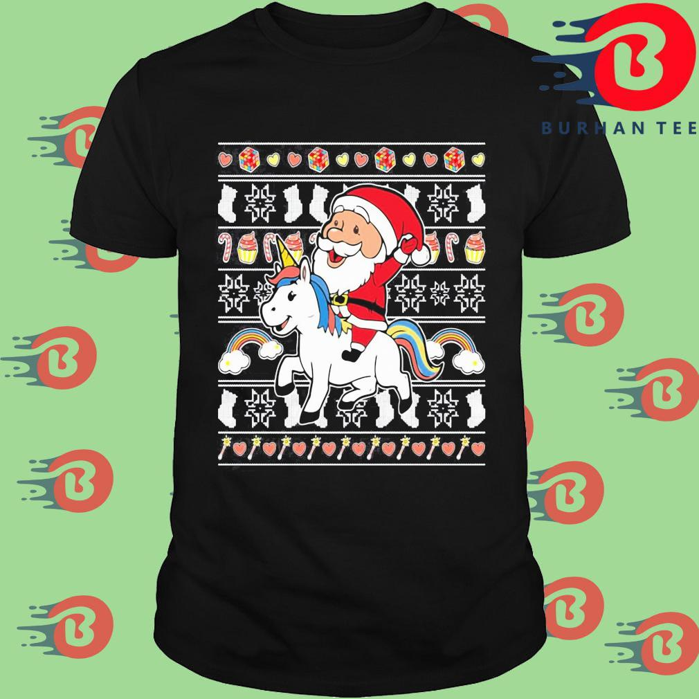 Santa riding unicorn Christmas shirt