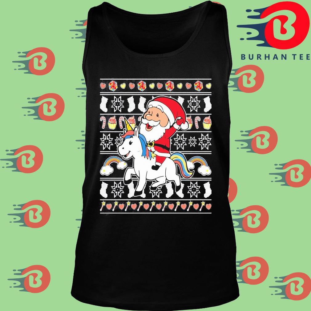 Santa riding unicorn Christmas s Tank top