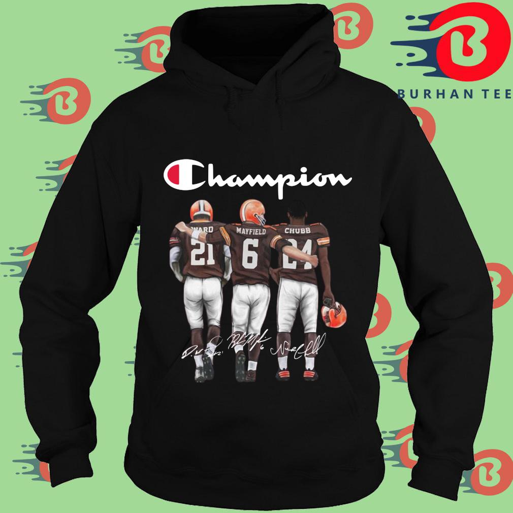 Cleveland Browns Champions Mayfield Chubb signatures s Hoodie