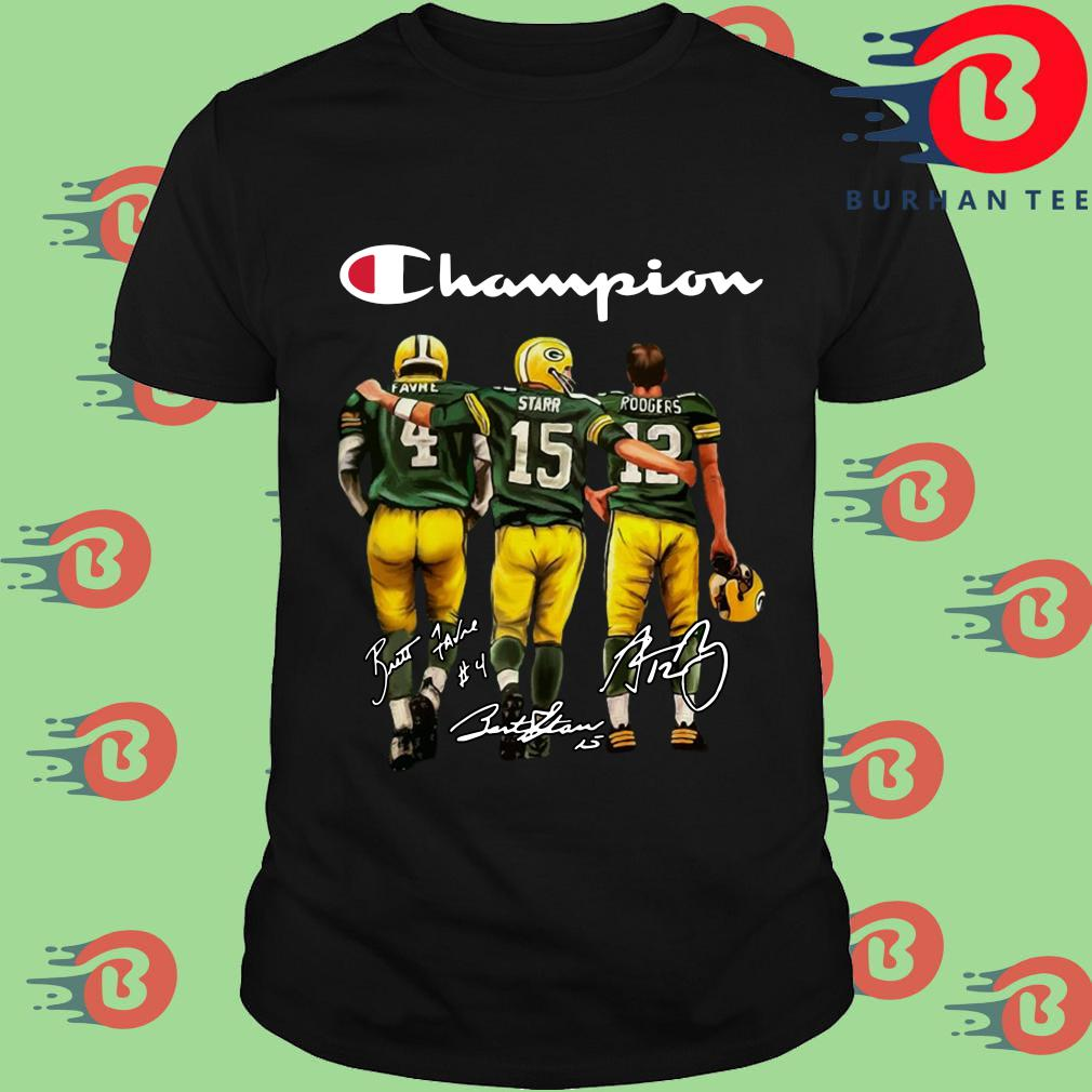 Green Bay Packers Champion Favre Bart Starr Aaron Charles Rodgers Signatures Shirt