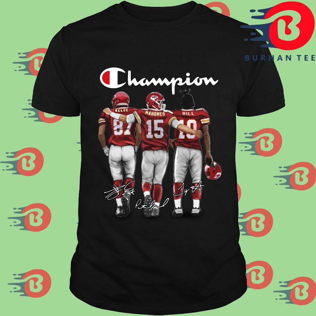 Kansas City Chiefs Champion Kelce Mahomes Hill signatures shirt