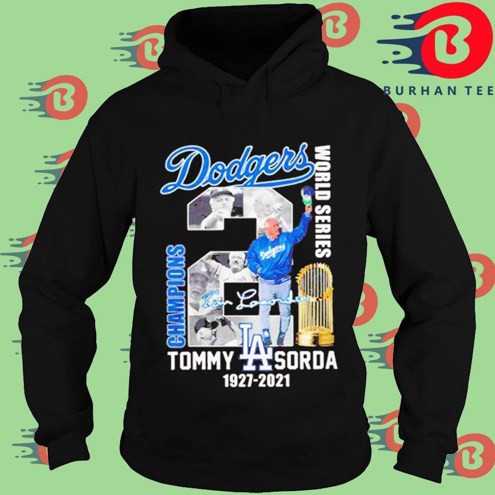 Los Angeles Dodgers world series Champions Tommy Lasorda 1927-2021 signature s Hoodie