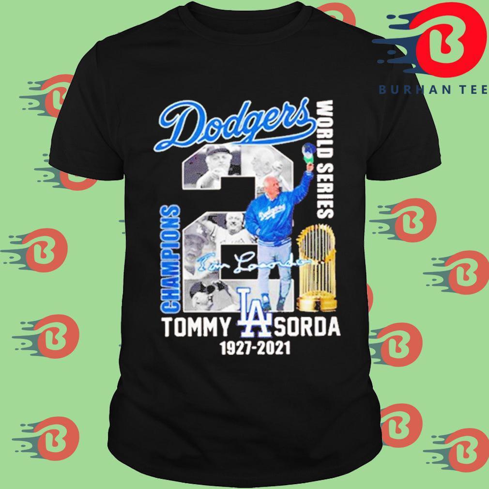 Los Angeles Dodgers world series Champions Tommy Lasorda 1927-2021 signature shirt