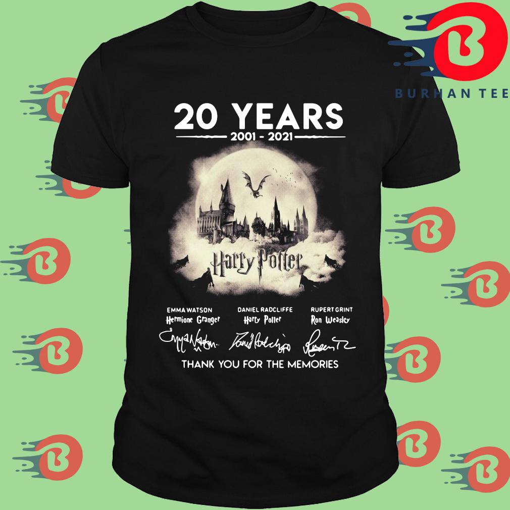 Official 20 years 2002-2021 Harry Potter thank you for the memories signatures shirt