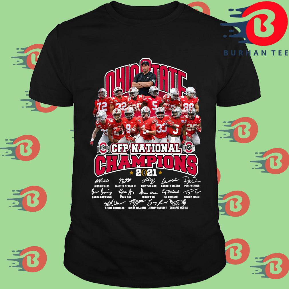 Ohio State Buckeyes CFP national Champions 2021 signatures shirt