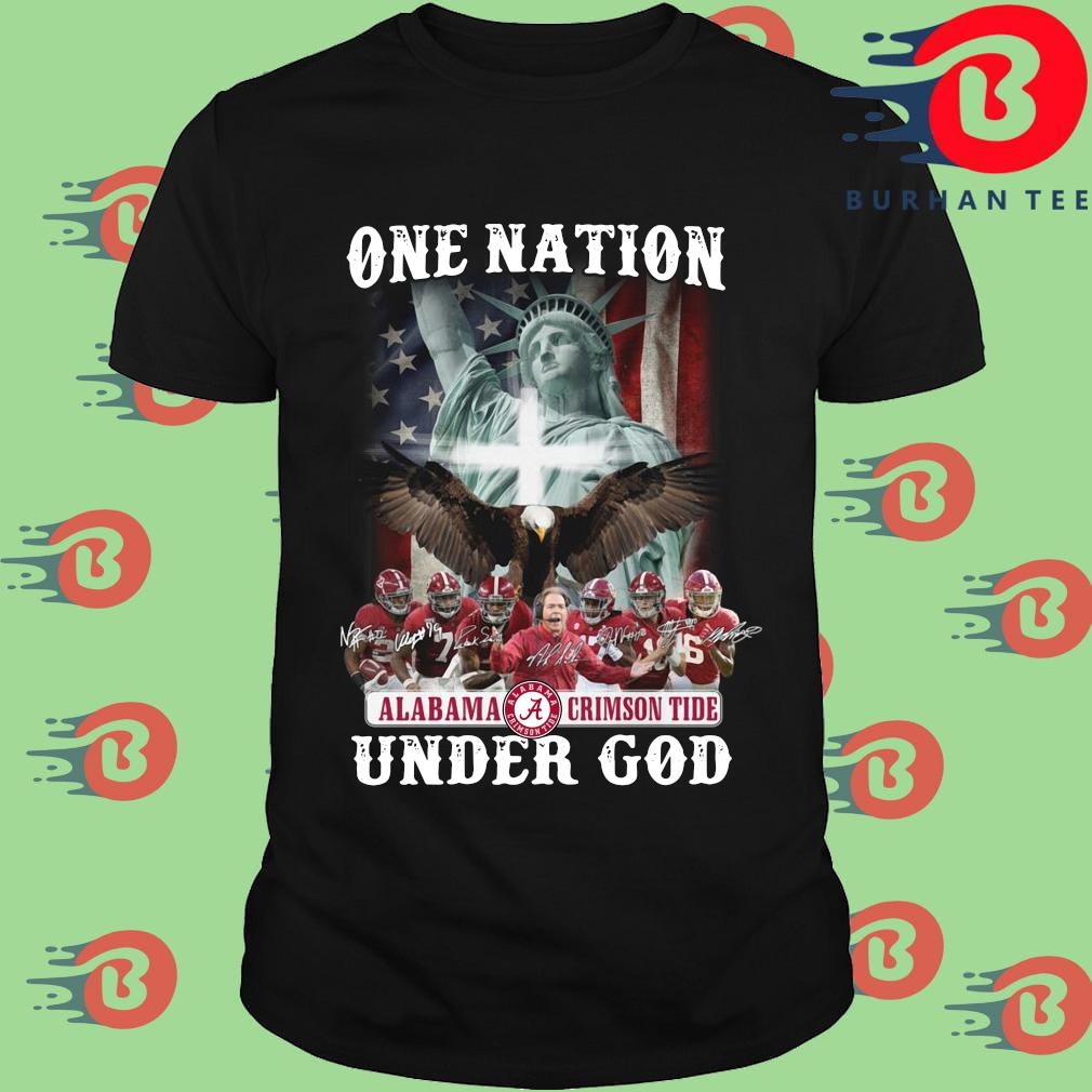 One nation Alabama Crimson Tide under god signatures shirt