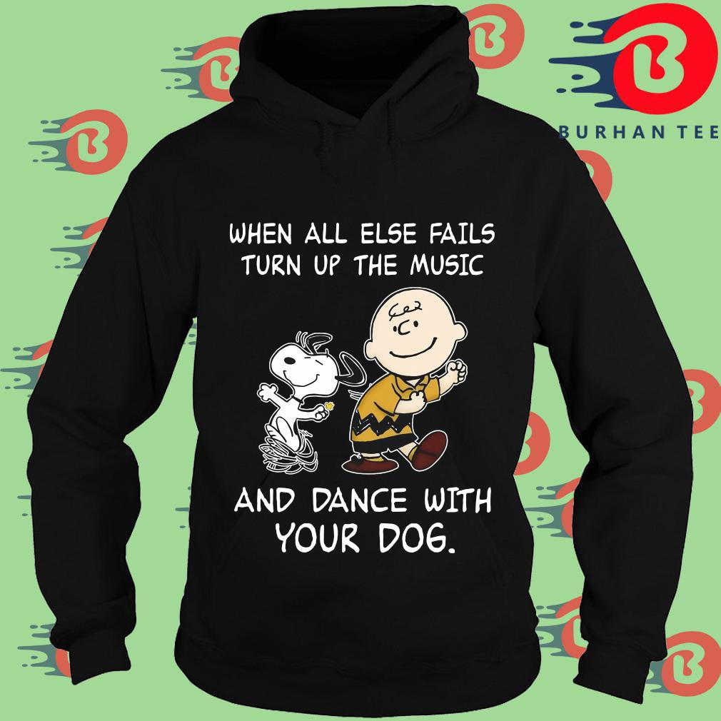 Snoopy and Charlie Brown when all else fails turn up the music and dance with your dog s Hoodie