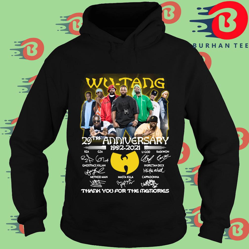 Wu tang 29th anniversary 1992-2021 thank you for the memories signatures s Hoodie