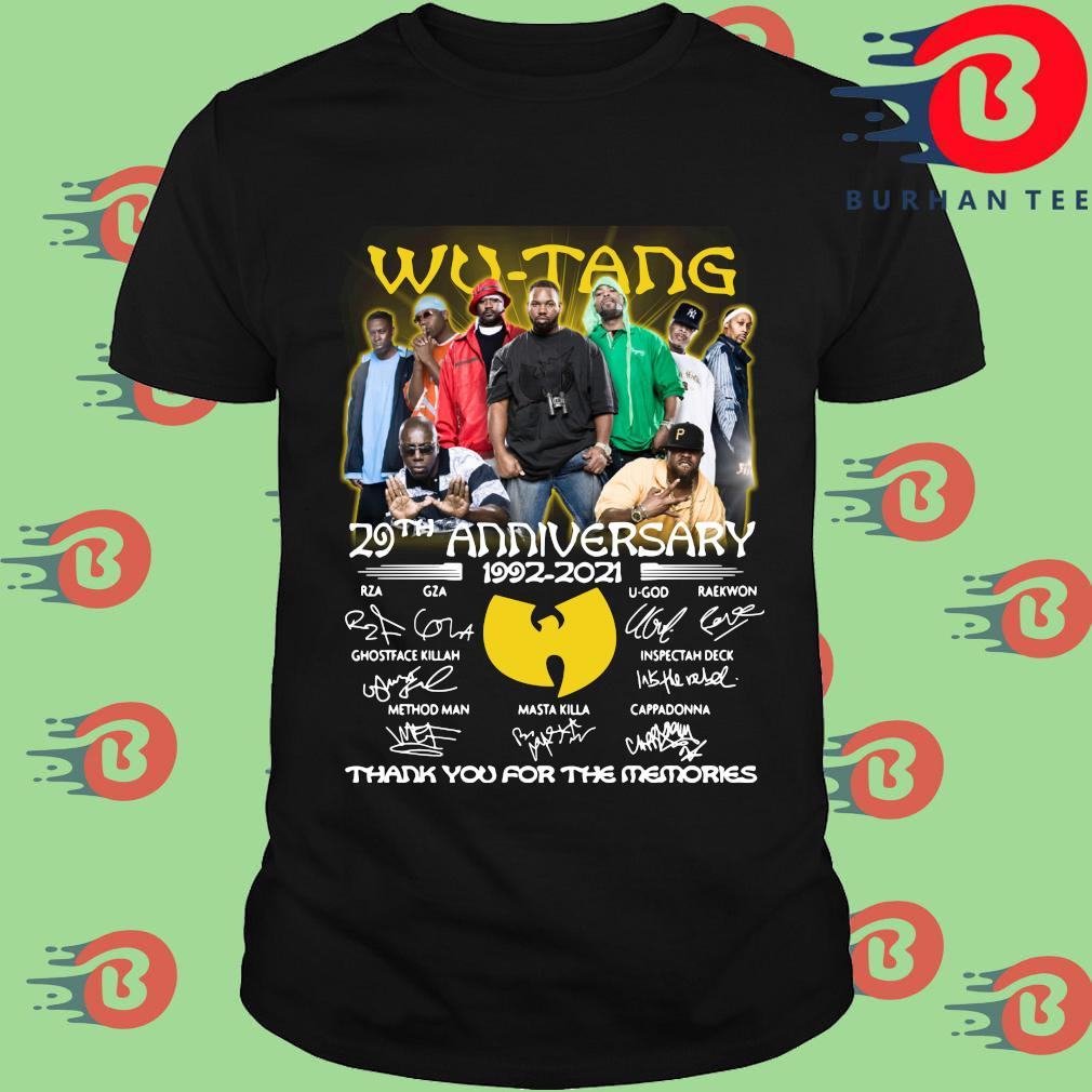 Wu tang 29th anniversary 1992-2021 thank you for the memories signatures shirt